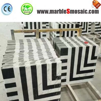 2018.07 Weißen schwarzen Marmor Mosaik Fliesen-Projekt