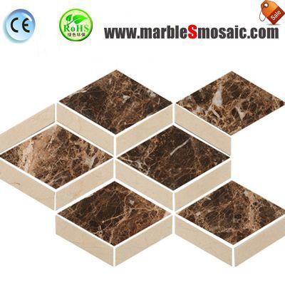 3D Cubic Emperador Marble Mosaic
