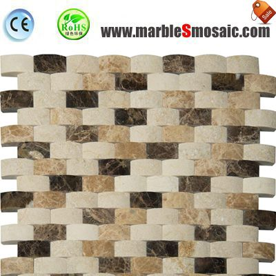 3D Curved Basketweave Marble Mosaic