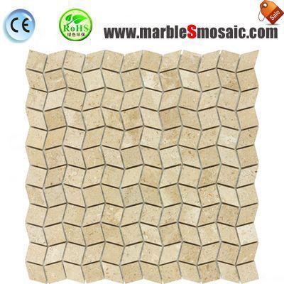 3D cuadrado de mosaico de mármol Beige