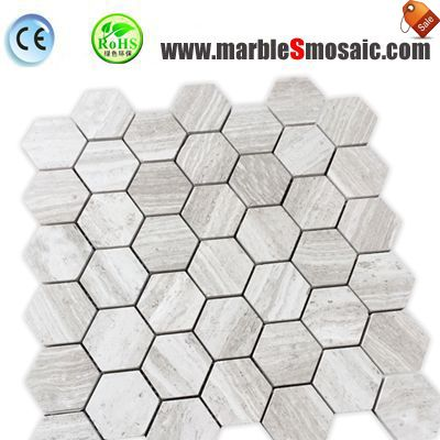 Athens White Hexagon Marble Mosaic
