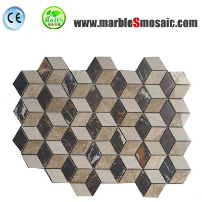 Bathroom Beige 3D Marble Mosaic Tiles