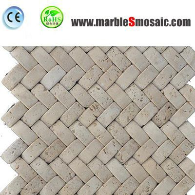 Beige Basketweave Travertine Mosaic