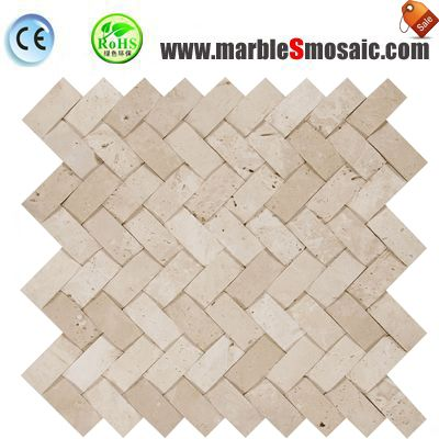 Beige Travertine Basketweave Mosaic