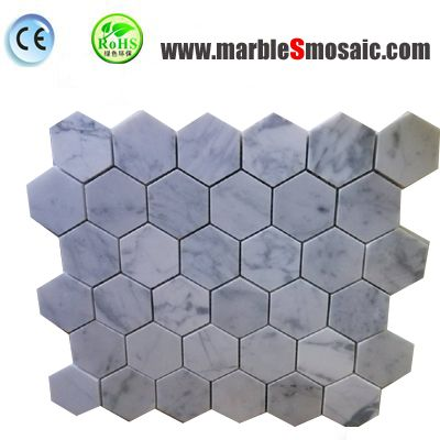 Bianco Carrara Hexagon Mosaic Wall Tile