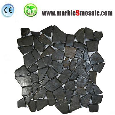 Black Marble Random Mosaic Tile