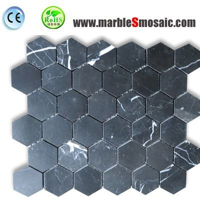 Black Marquina Marble Hexagon Mosaic