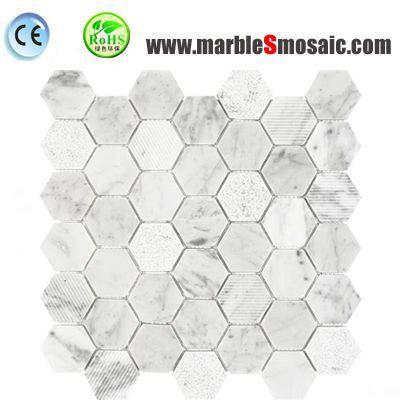Carrara Hexagon Mosaic Wall Sheet