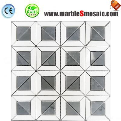 Cross White Grey Marble Mosaic