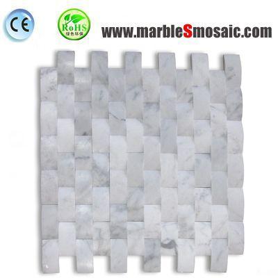 Curved Basketweave Marble Mosaic Tiles