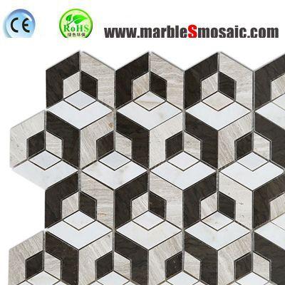 Dark Cubic Bath 3D Marble Mosaic