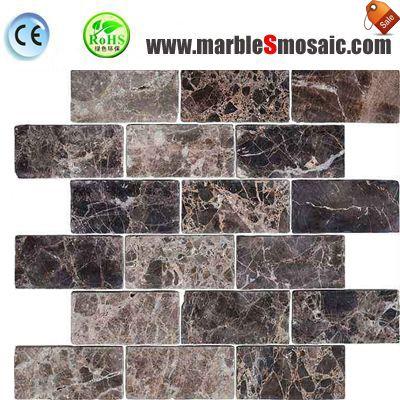 Dark Emperador Marble Brick Mosaic