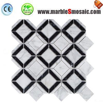 Mosaico negro cuadrado blanco del diamante
