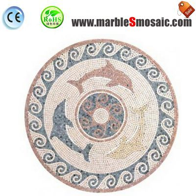 Dolphin Marble Water Jet Mosaic