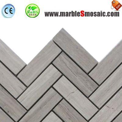 Fishbone Athens Grey Marble Mosaic