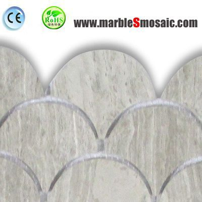 Grey Fish Scale Marble Mosaic