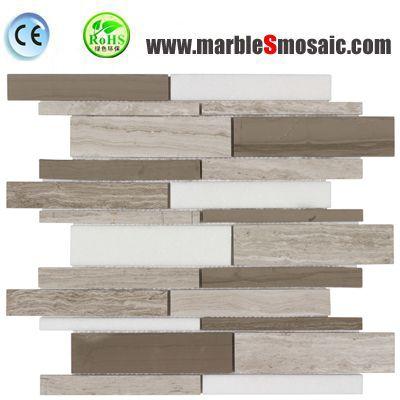 Grey White Strips Marble Mosaic