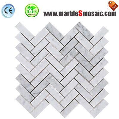 Елочка белый Carrara мозаика