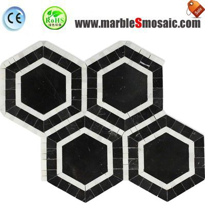 Hexagon Black Stone Mosaic