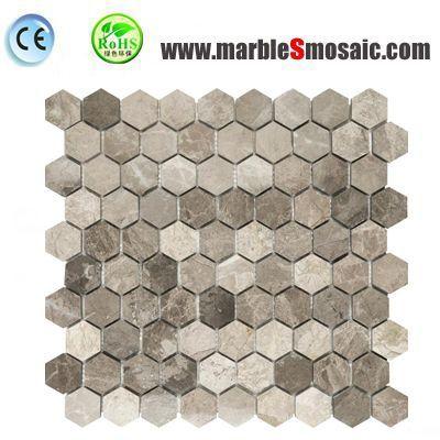 Hexagon Coffee Stone Mosaic