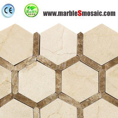 Шестиугольник Египет бежевый мрамор мозаика