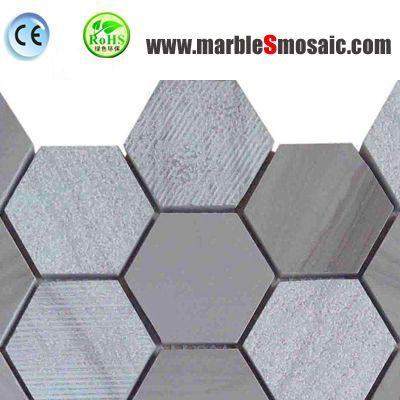 Hexagon Grey Marble Mosaic Tile