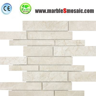 Light Beige Strips Marble Mosaic Tiles