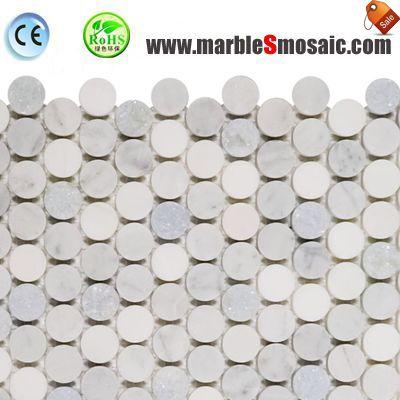 Mosaico de mármol de Color claro ronda de Penny