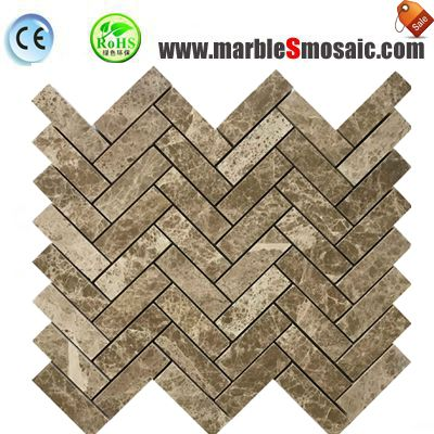 Light Emperador Herringbone Marble Mosaic