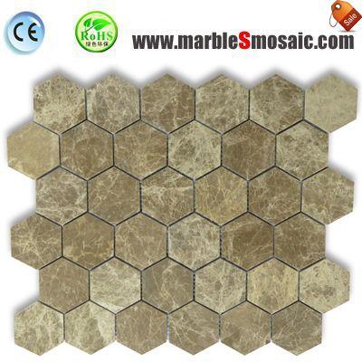 Light Emperador Stone Hexagon Mosaic