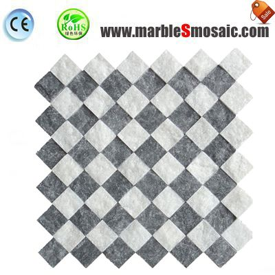 Естественный белый черный мозаика