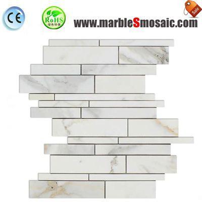 Onyx Strips White Marble Mosaic