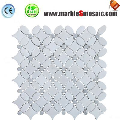 Oval Star White Marble Mosaic