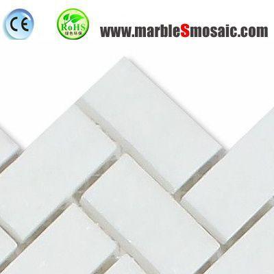 Mosaïque de marbre pur blanc Herringbone