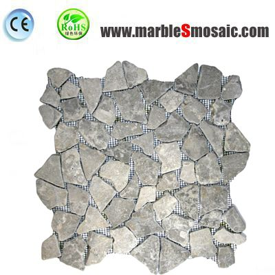 Random Grey Marble Mosaic Floor Tile