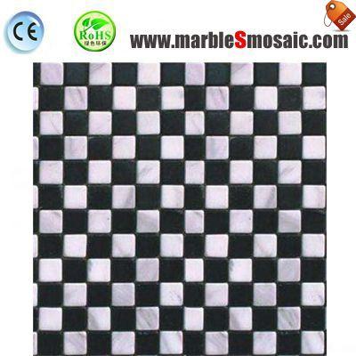 Mosaico de mármol blanco cuadrado negro