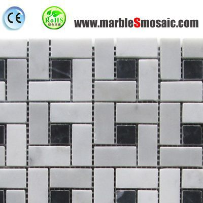 Square Marble Mosaic With Black Dots