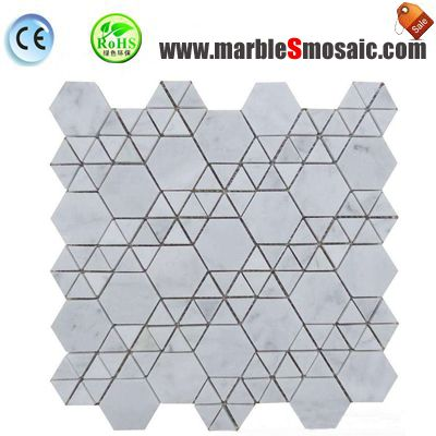 Triangle Carrara White Marble Mosaic
