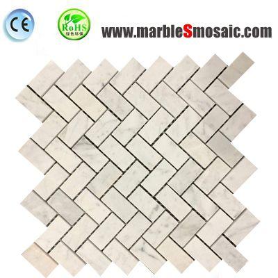 Tuile de mosaïque de chevrons en marbre blanc