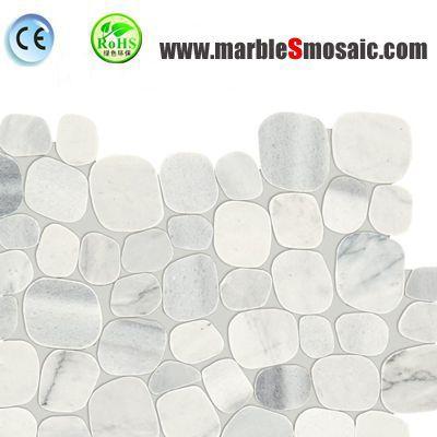 Mosaïque de marbre de galets blancs Rock