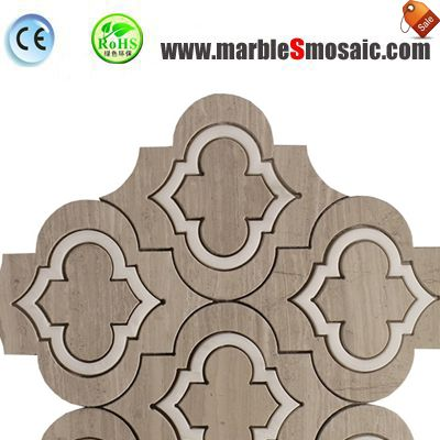 Wooden Grey Arabesque Marble Mosaic