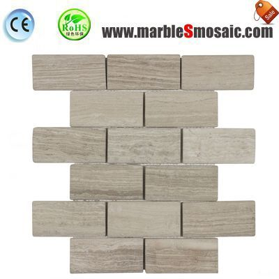 Wooden Grey Marble Bricks Mosaic
