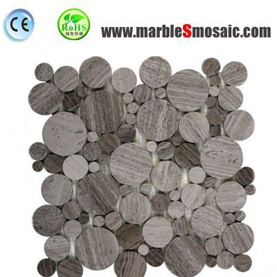Wooden Grey Marble Mosaic Tiles