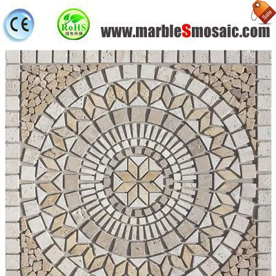 Yellow Travertine Water Jet Mosaic