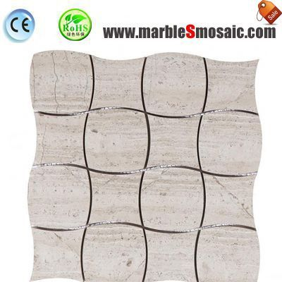 Angulation Wood Marble Mosaic