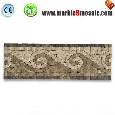 Tuile de mosaïque de frontière en marbre beige