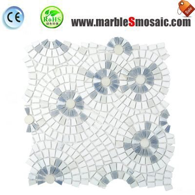 Blue White Flower Marble Mosaic