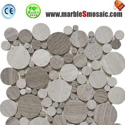Bubble Round White Wood Marble Mosaic