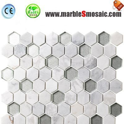 Crystal Glass White Marble Mosaic