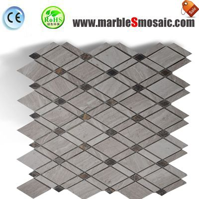 Diamond Wooden Marble Mosaic Sheet